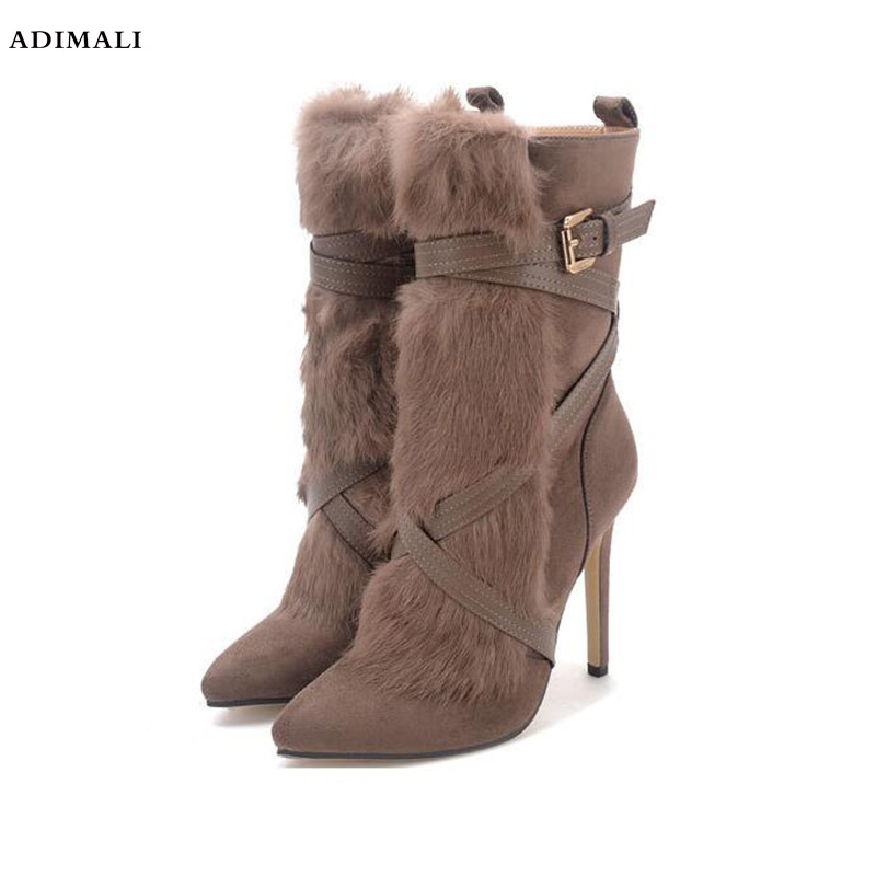 platform boots toe lace up genuine leather solid nude women ankle boots thick heel brand women shoes causal motorcycles boot