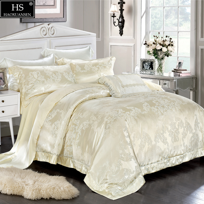 Luxury Mulberry Silk 4pcs Bedding Sets European Palace Style Jacquard Satin King Size Duvet Cover Flat Sheet Pillowcase White