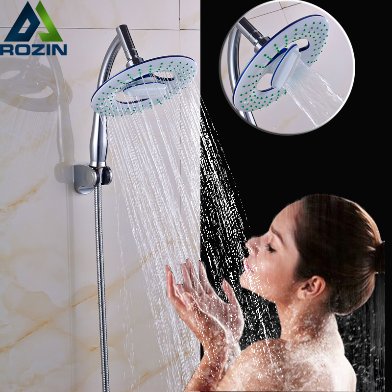 Bathroom Rainfall Shower Head High Pressure Round Sprinkler Nozzle Rain Head with Handheld Arm Stainless Steel Shower Hose