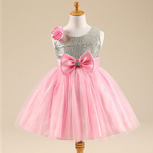 Girl High Quality  Dress Baby Girls Elegant Floral Wedding Birthday Party Princess Dresses 2-7 Age Kids Bow Clothes 1.2