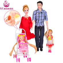 UCanaan Doll Set Family 5 People Baby Toy Suit 1 Mom Dad Son 2 Little Kelly Girls Carriage Real Pregnant Children Brinquedo