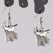 Design Silver Bijoux Egyptian Anubis Jackal God Drop Earrings For Women Fashion Jewelry Dangle Statement Girls