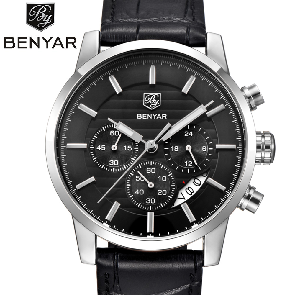 Reloj Hombre 2017 BENYAR Fashion Chronograph Sport Mens Watches Brand Luxury Military Quartz Watch Clock Men Relogio Masculino top mens watches brand luxury men military sport wristwatch quartz watch chronograph clock relogio masculino reloj hombre