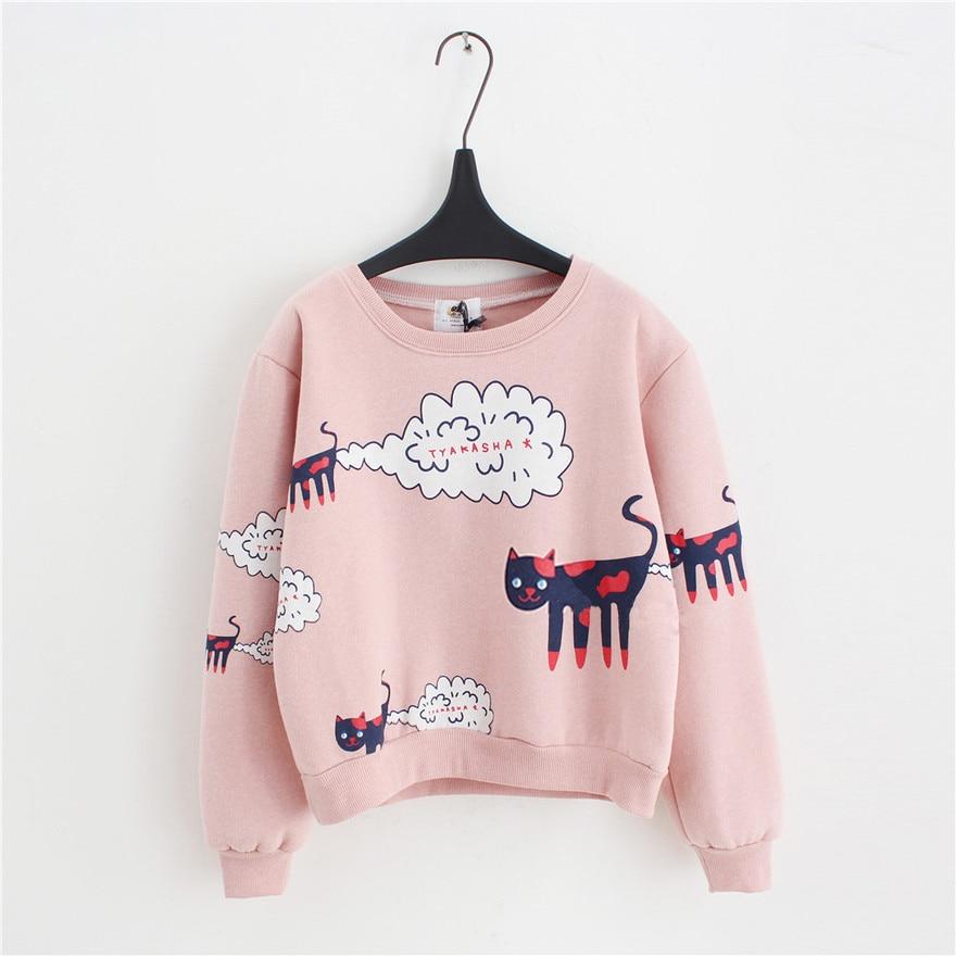 2018 Nyårshösttröja Kvinnor Toppar Plus Storlek Lös Casual Plus Tjock Velvet Cartoon Cat Pattern Sweatshirts Pullovers