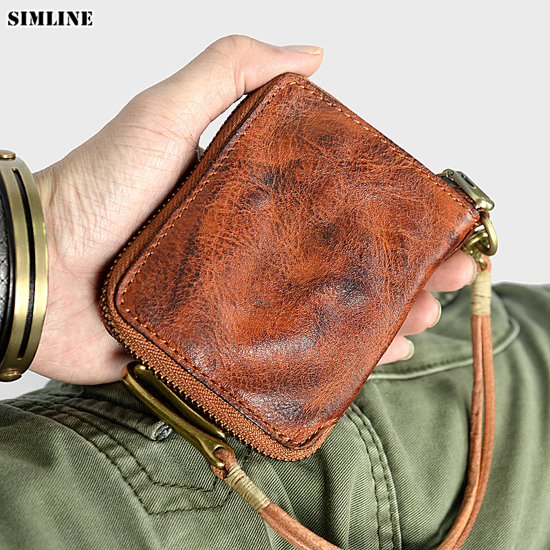 SIMLINE Genuine Leather Men Wallet Vintage Handmade Vegetable Tanned Leather Short Zipper Chain Wallets Card Holder Coin Pocket simline vintage genuine leather cowhide men male short slim mini thin zipper wallet wallets purse card holder coin pocket case