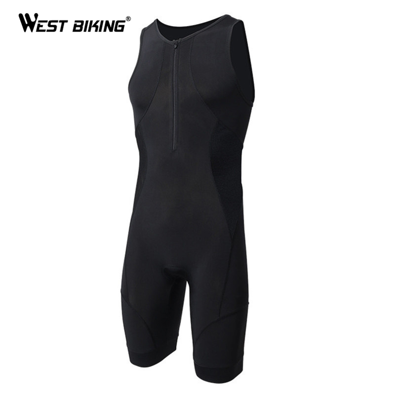 WEST BIKING Mens Triathlon Bib Shorts Breathable Tight Jumpsuit Roupa Ciclismo Running Swimming Bike Bicycle Cycling Bid Shorts