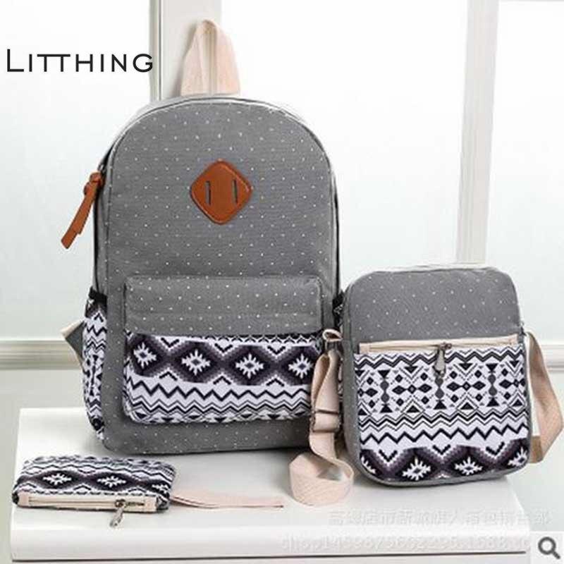 Litthing Dot Printing 3 Pcs Canvas Backpack Set Preppy Women School Backpacks Schoolbag For Teenagers Student Book Bag Bagpack