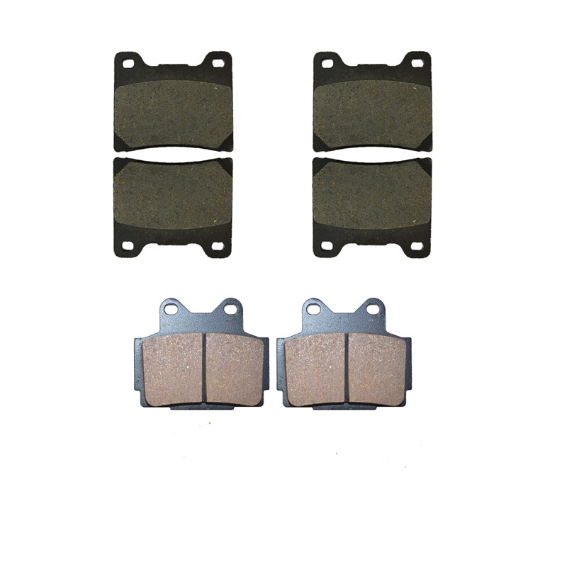 Motorcycle Front and Rear Brake Pads for YAMAHA FZR 400 FZR400 U / SUC / W / SWC 1988-1989 Black Brake Disc Pad motorcycle front and rear brake pads for honda xrv 650 xrv650 j k africa twin 1988 1989 black brake disc pad