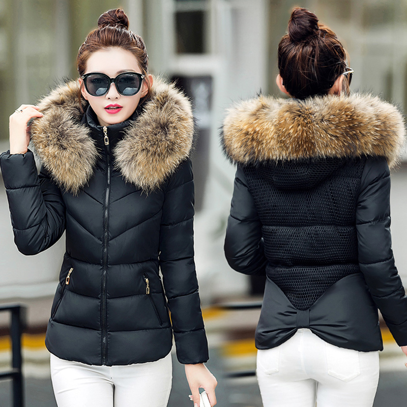 2018 New Arrival Women Winter Jacket With Fur Stand Collar Warm Womens Winter Coat padded Slim Female   Parka   Outwear Camperas