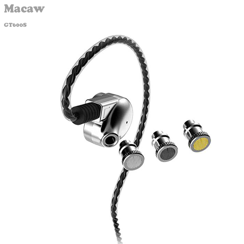 2017 newest Macaw GT600S Metal in-ear DIY Earphones dynamic balanced armature hybrid fever earphone with bass filters new single balance armature earphones in ear earphones x10 s shell er4p s driver