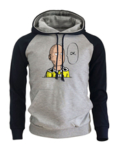 2018 Autumn Winter Fleece Brand Clothing Men's Sportswear One Punch Man Hero Saitama Oppai Anime Raglan Hoodies Harajuku Hoody