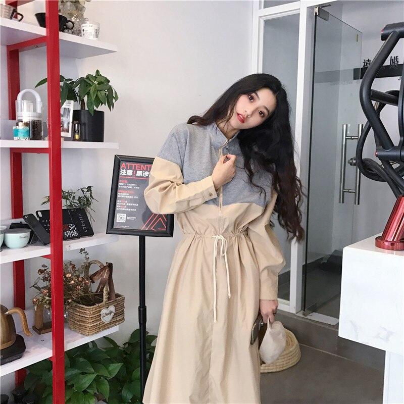 HTB1Yhvwa2fsK1RjSszbq6AqBXXaZ - Spring / Autumn Mandarin Collar Long Sleeves Waist-Controlled Patchwork Zipper Midi Dress