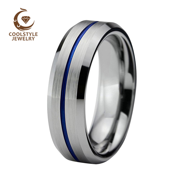 136725780572e US $13.99 |6mm Blue Color Plated Tungsten Carbide Wedding Ring For Women  Men Center Line Beveled Edges Silver Brushed Top Comfort Fit -in Wedding ...