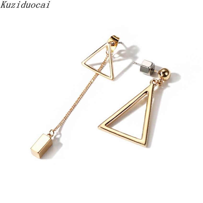 Kuziduocai New Hot ! Fashion Fine Jewelry Copper Alloy Modern Triangle Asymmetry Tassel Cube Stud Earrings For Women Gifts E-527
