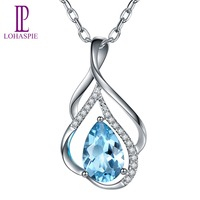 LP Customized Solid 9K 10K 14K 18K White Gold 1.14ct Natural Aquamarine Diamond Pendant Fine Gemstone Jewelry For March Birthday