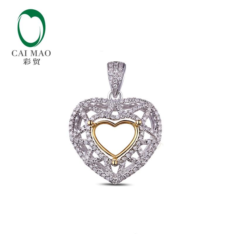 Width9 x Length 8mm heart Cut 14k Gold Pave Diamond Engagement Semi Mount Pendant Resizable 14k enamel heart angel pendant jewelryweb