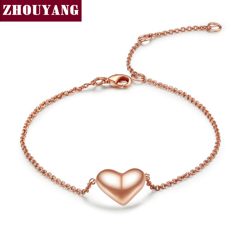 Small Heart Simple OL Style Smooth  Rose Gold Plated Bracelet Jewelry Wedding Party Love Gift Wholesale Top Quality ZYH199