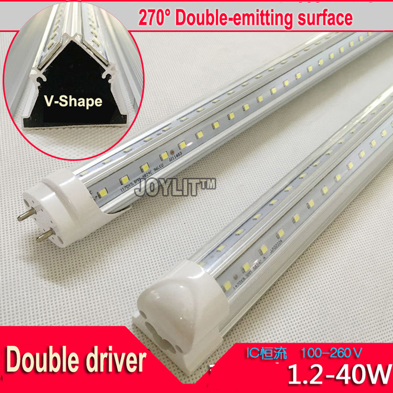 50pcs 40W 1200MM <font><b>4ft</b></font> <font><b>T8</b></font> v-shaped <font><b>LED</b></font> <font><b>Tube</b></font> Light High brightness SMD2835 192led/PC AC85-265V 270 degree image