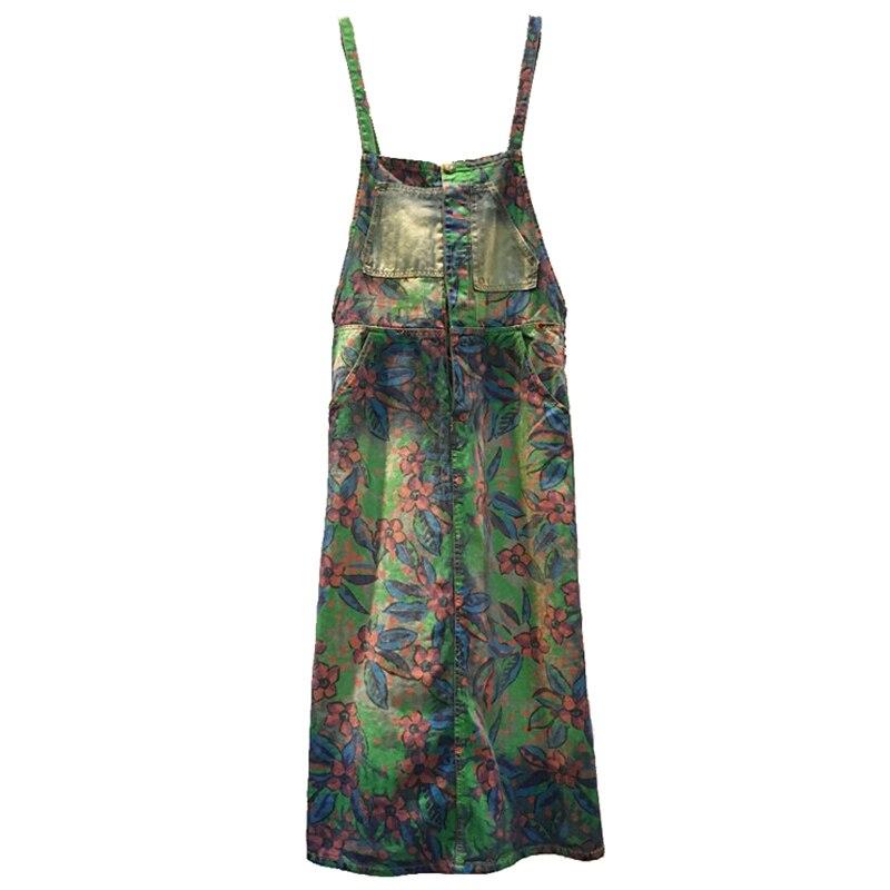 New Arrival Vintage Flower Print Denim Long Maxi Dress Women's Dresses
