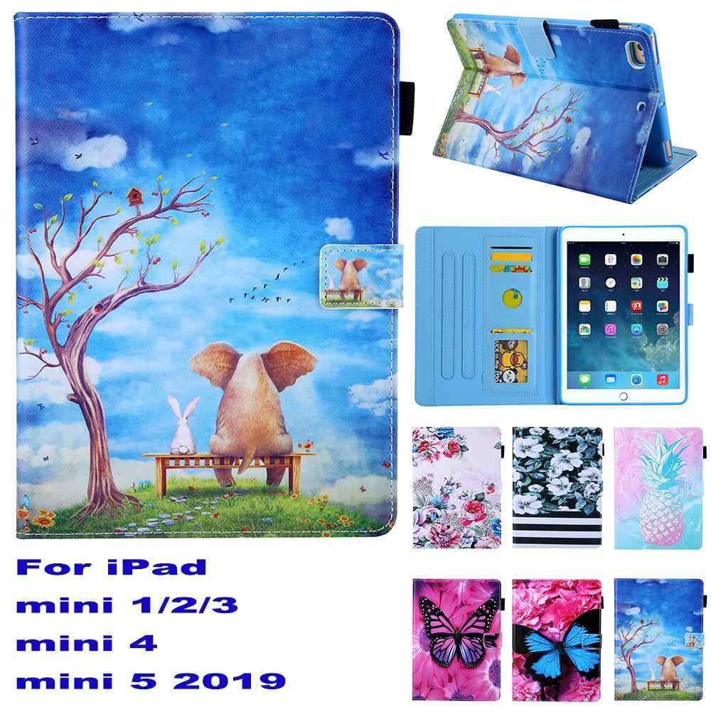 De dibujos animados de moda del soporte de la Pu de cuero de Fundas para Apple iPad mini 1/2/3/mini 4 mini 5 2019 Tablet cubierta Coque ranura para tarjeta