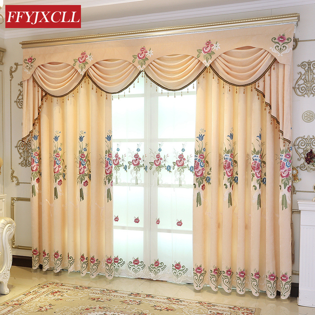 Yellow Peony High Quality Embroidered Blackout Curtains Window For living Room Bedroom Kitchen Tulle Curtains Valance Drapes