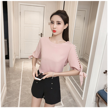 New 2018 Summer Pearl Sleeve Loose Women Blouses Shirt White Shirt Korean Chiffon Shirt Small Fresh Tops Female Blusas 0359 40