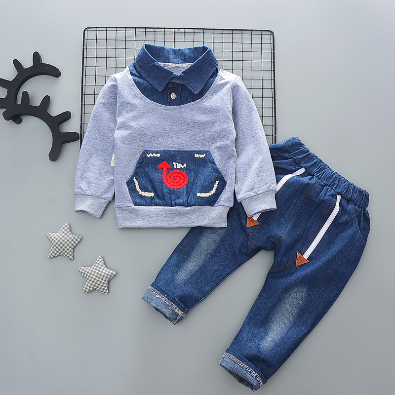 2019 Baby Boy Clothes Winter Cartoon Boy Clothing Set Long Sleeves Boys T Shirt+ Pant Kids Clothes Set Toddler Boy Clothes