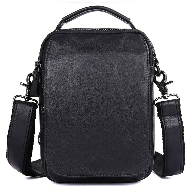 Сумки через плечо Для мужчин из коровьей кожи 2018 модные черные Бизнес путешествия Винтаж бренд плеча небольшой Ipad Телефон Сумки