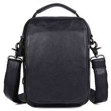 Crossbody Bags Men Cow Leather 2018Black Fashion Business Travel Vintage Brand Shoulder Messenger Small Ipad Phone Handbag Bags