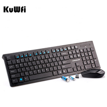 Kuwfi Ultra Slim 2.4G Wireless Keyboard+Mouse Nano Receiver Portable Gaming Keyboard Mouse Combo for Desktop/PC