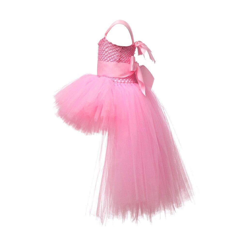 Image 4 - V neck Train Girls Tutu Dress Tulle Flower Girl Dresses Pink Girls Wedding Pageant Ball Gown Children Girl Birthday Party Dressgirls birthday party dressgirls tutu dressgirls dress -
