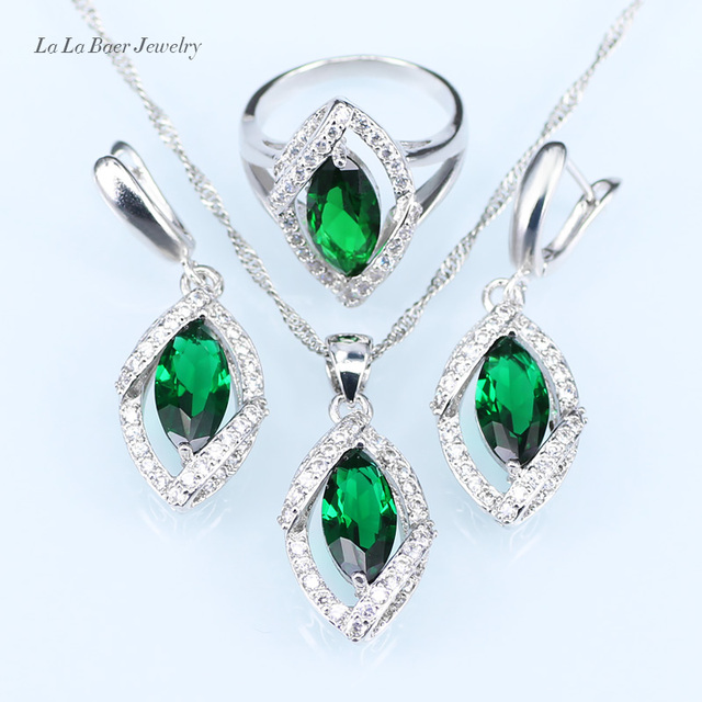 b10a7f90a silver 925 eye Costume Jewelry Set Green created Emerald White zircon For  Women Pendant/Necklace/Earrings/Ring for party