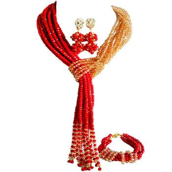 Elegant Opaque Red Champagne Gold AB Crystal Wedding Beads Jewelry Sets for Bridal 10C-WJ-20