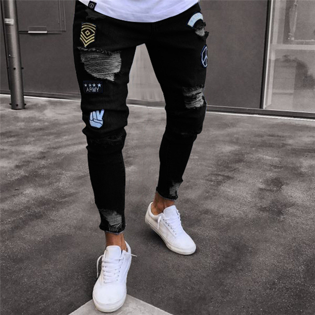 Men's Fashion Vintage Ripped Jeans  Skinny Slim Fit Zipper Denim Pant Destroyed Frayed Trousers Cartoon Style Pants Dropshipping
