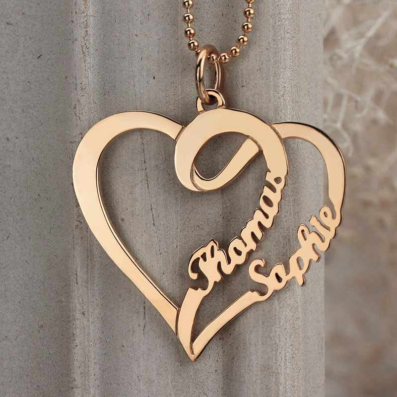 7d065b23a0 ... Women Fashion Double Heart Love Necklace With Two Names Sterling Silver  925 Two Custom Name Necklaces ...