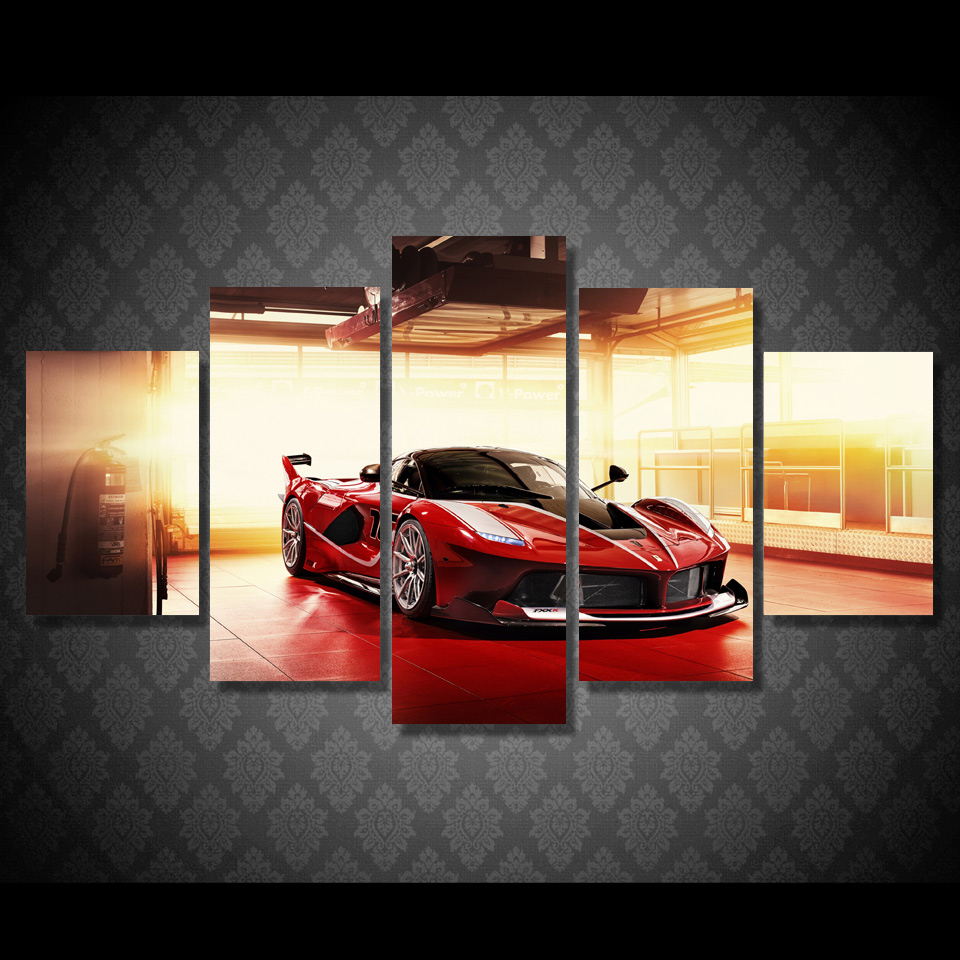 5 pcsset framed hd printed red luxury sports car picture wall art canvas print