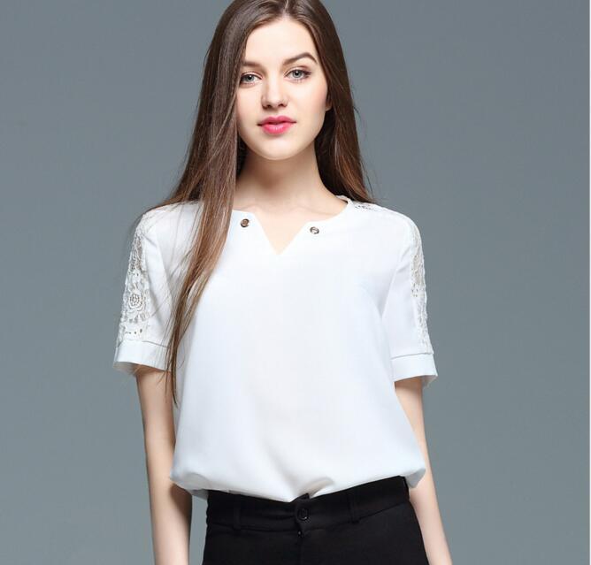 2017 New Summer Hollow Lace Stitching Short Sleeve Chiffon T-shirt Top Clothes Women Elegant Office Work V-neck Slim T-shirt Tee