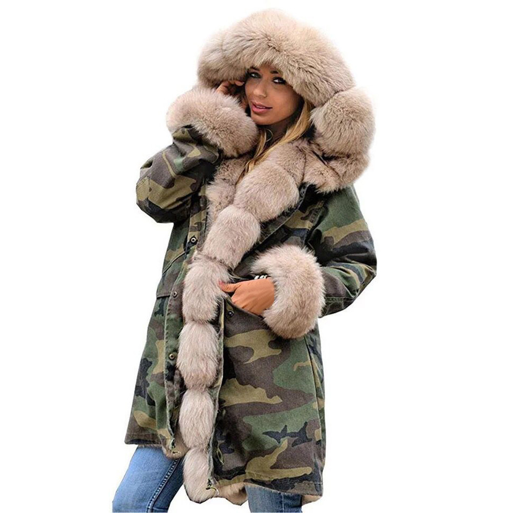 Wofupowga Mens Camo Winter Stand Collar Thicken Hooded Mid-Length Parka Jackets Coat