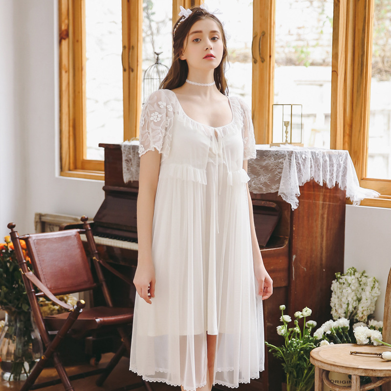 Two Piece Sets Women Nightdress Short Sleeve Sleepwear Palace Princess Sleeping Dress Floral   Nightgowns     Sleepshirts   Nightwear