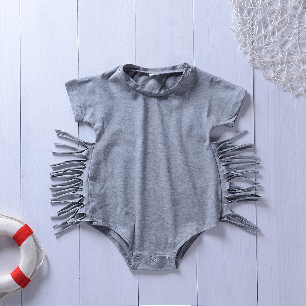 Newborn bebe clothes Infant Grey Baby Girl Romper 2018 Summer Baby Girls Jumpsuit Toddle kids babies Clothing Outfits