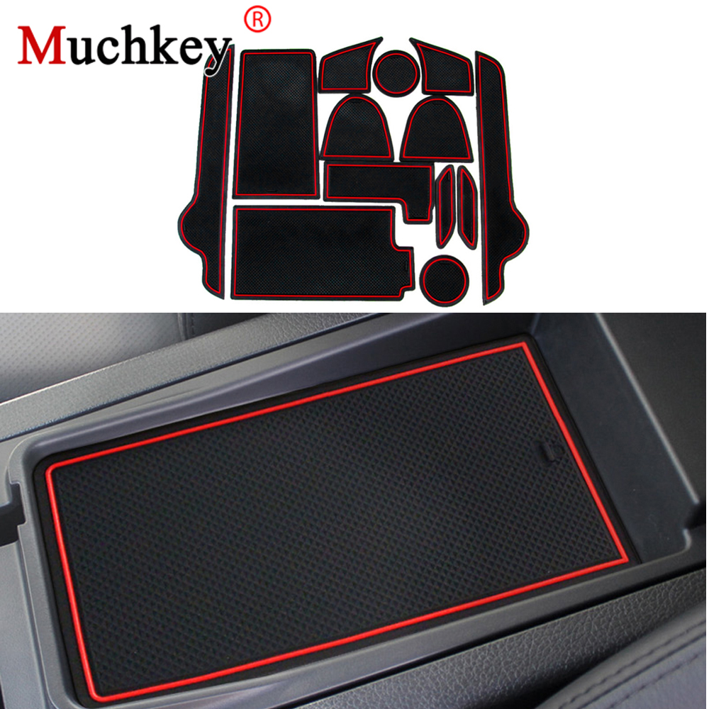 Muchkey Car Gate Slot Pad Mats For NISSAN TEANA 2013-2014 Interior Door Pad/Cup Red/White 13pcs Door Groove Mats Car-Styling