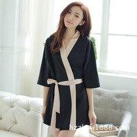 Mode Soie Femmes Courtes Robes Faux Satin chemise de Nuit Robe Sexy Wrap Robe de Nuit avec Des Ceintures de Femmes Peignoir Pyjamas