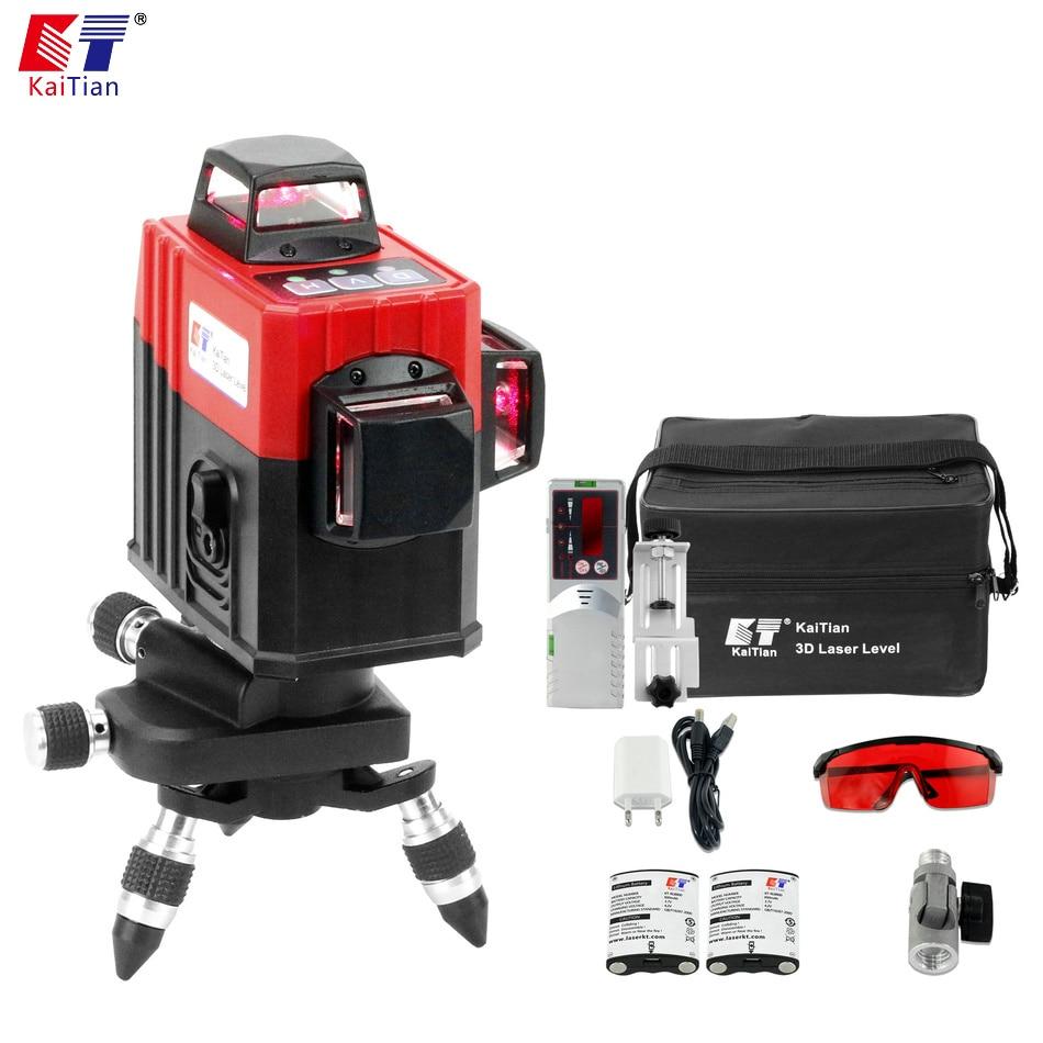 Кайтянь лазерный/уровень/3D/360/Leveler/приемник/строительства/горизонтальные вертикальные 12 линия/ поворотный/самовыравнивающая/уровень/лазер