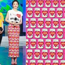 74050bdf3b DIY-AF470 X 150 cm amor tema Amore latas Strech fucsia poliéster suave Cady  Lino tela para mujer verano vestido falda costura .