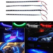 12V автомобильный интерьер светодиодные ленты стикер дневные ходовые огни водонепроницаемый гибкий автомобиль свет 4 цвета