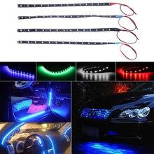 12 v carro interior led tira etiqueta luzes diurnas à prova dwaterproof água flexível carro luz 4 cor