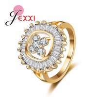 JEXXI Hollow Design Wedding 18K Yellow Gold Plated Shiny Promise Ring Anniversary Band Jewelry With Full