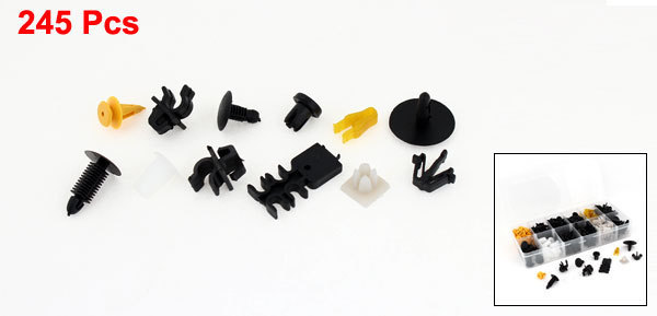 Para a Toyota R4 Bumper Car porta grampo plástico rebites parafusos & Case 245 PCS / caixa preto amarelo cor branco