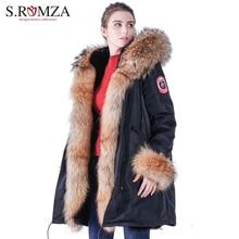 S.ROMZA Large Real Raccoon Fur Parka Women Coat Jacket Waterproof Winter Coat Warm Faux Black Fur Liner Woman Parka Coat