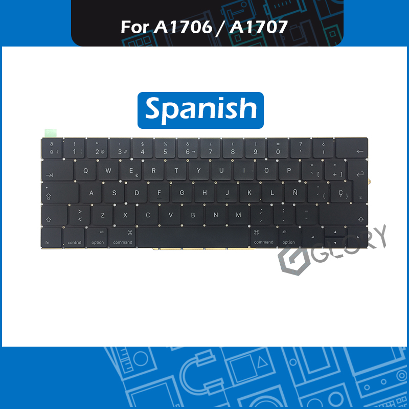Laptop A1706 A1707 ES Spanish Keyboard for Macbook Pro Retina 13 15 A1706 A1707 Spain keyboard Replacement 2016 2017 Year image